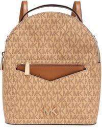 MICHAEL Michael Kors Jessa Color-block Textured-leather Backpack Light Brown