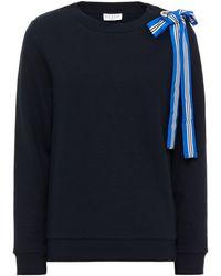 Claudie Pierlot Bow-embellished Mélange Cotton-blend Fleece Sweatshirt - Blue