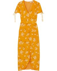 Madewell - Woman Wrap-effect Printed Silk Crepe De Chine Midi Dress Mustard - Lyst