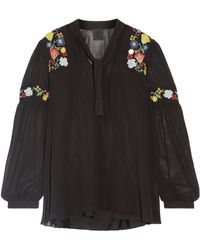 Anna Sui - Garden Embroidered Georgette Blouse - Lyst