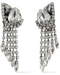 DANNIJO Kora Silver-tone Crystal Clip Earrings Silver - Metallic