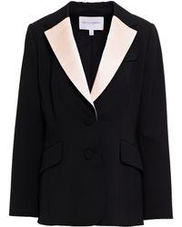 Carolina Herrera Satin-trimmed Wool-blend Twill Blazer - Black