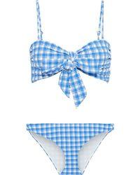 Ganni Jewett Bow-detailed Gingham Stretch-seersucker Bandeau Bikini Light Blue