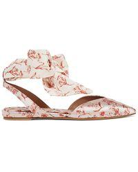 Tabitha Simmons + Johanna Ortiz Vera Printed Silk-satin And Crepe De Chine Point-toe Flats - Pink