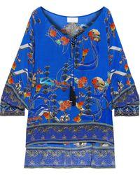 Camilla Crystal-embellished Printed Silk Crepe De Chine Blouse Royal Blue