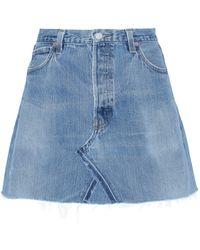 RE/DONE Woman + Levi's Distressed Denim Mini Skirt Mid Denim - Blue