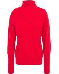 Victoria Beckham Pointelle-trimmed Wool-blend Turtleneck Jumper - Red