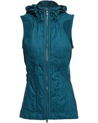 adidas By Stella McCartney + Adidas Quilted Shell And Stretch-jersey Hooded Vest Teal - Blue