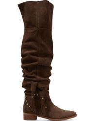 See By Chloé See By Chloé Dasha Dakar Studded Suede Over-the-knee Boots Brown