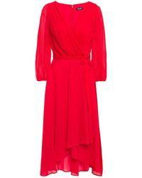 DKNY Wrap-effect Pleated Crepon Midi Dress Crimson - Red