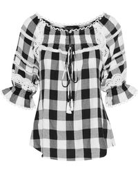 Marissa Webb - Amalia Lace-trimmed Gingham Cotton-blend Twill Blouse - Lyst