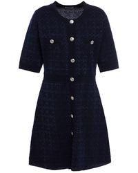 Claudie Pierlot Medaille Metallic Jacquard-knit Wool-blend Mini Dress - Blue