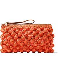 M Missoni Leather-timmed Crocheted Cotton-blend Clutch - Orange