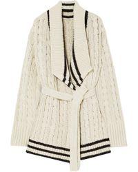 Maison Margiela Cable-knit Cotton And Linen-blend Cardigan Ecru - Natural