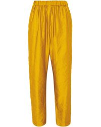 Dries Van Noten Pearl Metallic Faille Straight-leg Pants - Yellow