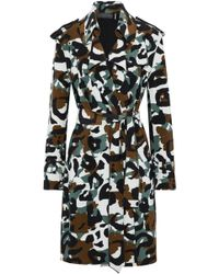 Norma Kamali - Printed Scuba Trench Coat - Lyst