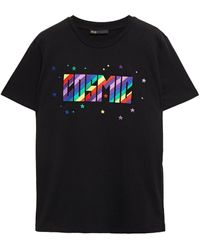Maje Terence Embroidered Cotton-jersey T-shirt - Black