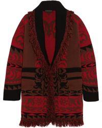 Etro - Fringe-trimmed Intarsia Wool Jacket - Lyst