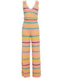 M Missoni Crochet-knit Wool And Cotton-blend Wide-leg Jumpsuit Baby Pink