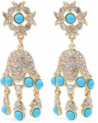 Kenneth Jay Lane - Gold-tone, Crystal And Stone Clip Earrings - Lyst