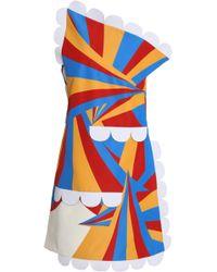 Victoria, Victoria Beckham - One-shoulder Printed Faille Mini Dress - Lyst