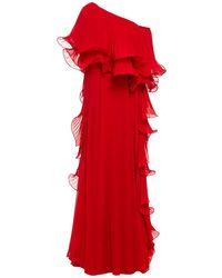 Badgley Mischka Off-the-shoulder Pleated Organza And Georgette Gown - Red