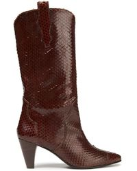 Gestuz Snake-effect Leather Boots - Brown