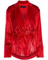 Michael Lo Sordo Metallic Velvet Wrap Top Red