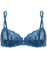 Simone Perele Simone Pérèle Embroidered Tulle And Jersey Underwired Bra Storm Blue