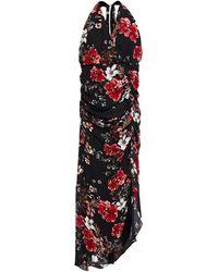 Nicholas - Asymmetric Ruched Leopard-print Silk-crepe Dress - Lyst