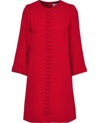 Goat Houston Button-embellished Crepe Mini Dress Brick - Red