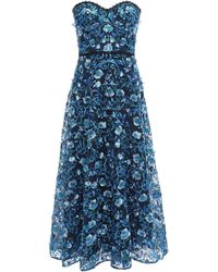 Marchesa notte - Strapless Embellished Tulle Midi Dress Blue - Lyst