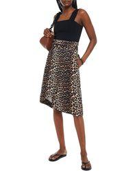 Ganni Asymmetric Belted Leopard-print Denim Wrap Skirt - Multicolor