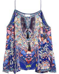 Camilla Cold-shoulder Embellished Printed Silk Crepe De Chine Top Blue