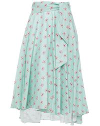 Miguelina Asymmetric Belted Printed Linen Skirt Turquoise - Blue