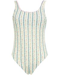 Anjuna Crochet-trimmed Printed Swimsuit - White