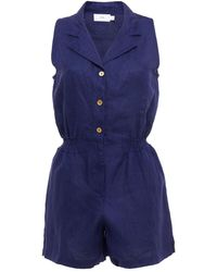 Onia Shirred Linen Playsuit - Blue