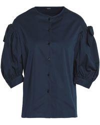Raoul Bow-detailed Cotton-blend Poplin Blouse Storm Blue