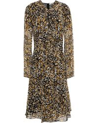 Roberto Cavalli - Knotted Printed Silk-voile Dress Mustard - Lyst
