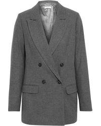 Iris & Ink Fayette Double-breasted Mélange Flannel Blazer - Grey