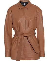 Iris & Ink Fatima Belted Leather Jacket Light Brown