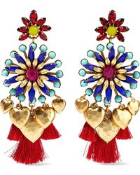Elizabeth Cole - Gold-tone, Crystal, Bead And Tassel Earrings - Lyst