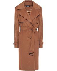 DKNY Belted Wool-blend Felt Coat Light Brown