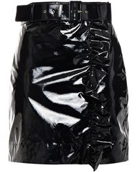 MSGM Belted Coated Cotton-blend Canvas Mini Skirt - Black