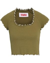 Solid & Striped Cropped Ruffle-trimmed Ribbed Cotton-blend Top Army Green