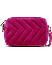 Sandro Quilted Velvet Belt Bag Fuchsia - Purple