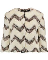 Ainea - Cropped Faux Fur And Bouclé Jacket - Lyst