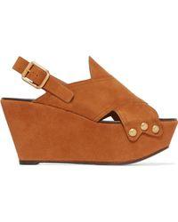 Chloé - Mischa Studded Suede Platform Sandals - Lyst