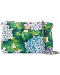 Dolce & Gabbana Floral-print Textured-leather Clutch Green