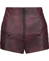 Balmain - Quilted Leather Shorts - Lyst